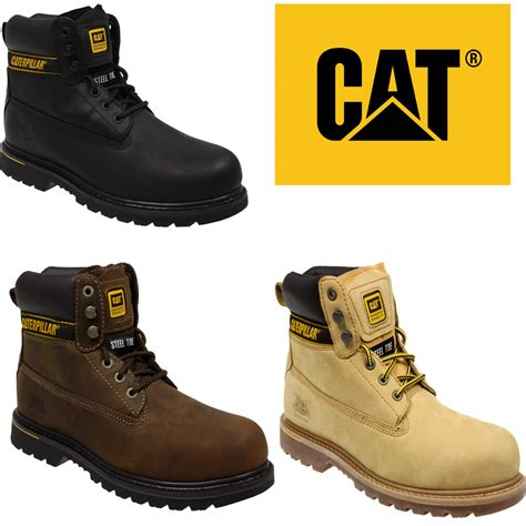 cat safety shoes mens caterpillar cat holton steel toe work safety leather