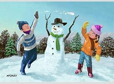 Children Playing In Snow Greeting Card for Sale by Martin