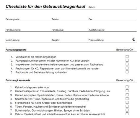 checkliste fuer den gebrauchtwagenkauf zum ausdrucken