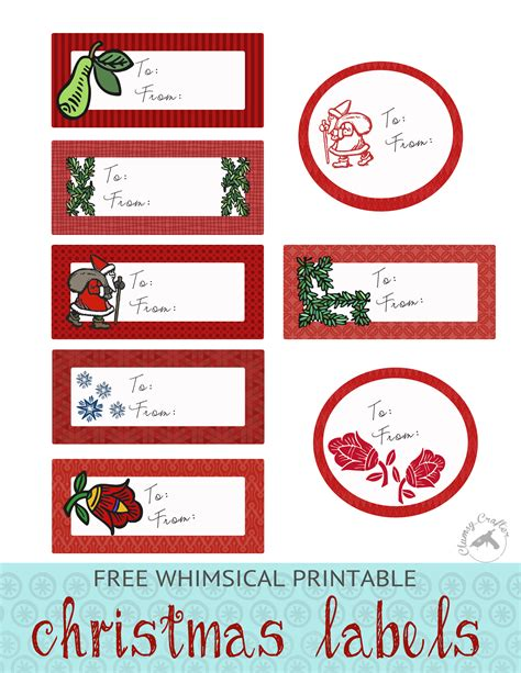 whimsical christmas labels clumsy crafter