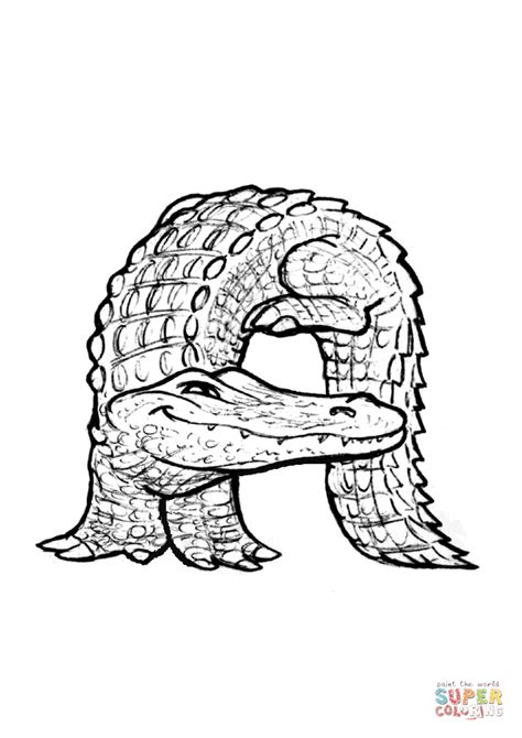A is for Alligator coloring page from Animals Alphabet