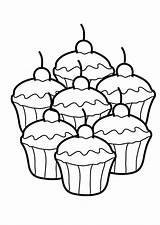 Coloring Cupcake Seven Delicious Netart sketch template