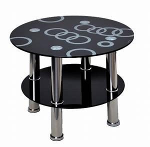 Couchtisch Schwarz Rund : glastisch rund beistelltisch ecktisch couchtisch schwarz mit edelstahl und 8 mm esg ~ Orissabook.com Haus und Dekorationen