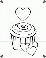 Cupcake Coloring Pages Cupcakes Drawing Birthday Heart Line Screen Printing August Clipart Icolor Designs Popular Paste Eat sketch template