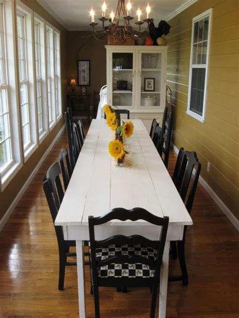 elegant white farmhouse dining table ideas narrow