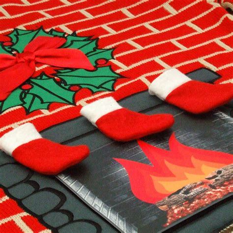 flashing fireplace lighted christmas jumper by cheesy