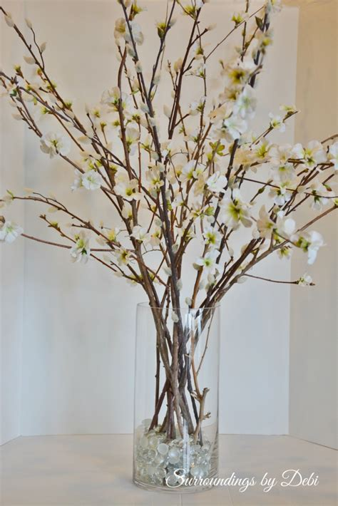 Vase With Branches by Pottery Barn Inspired Faux Cherry Blossom Branches