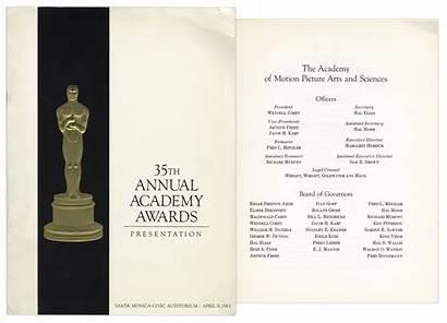 Awards Academy Oscars Program 35th Annual 1963