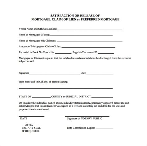 release  mortgage form   documents