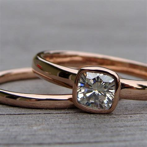 hand made square cushion cut moissanite and recycled 14k