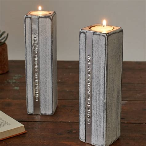 wooden candle holders two personalised wooden tealight candle holders by warner