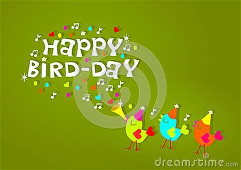 happy birthday birds greeting card stock illustration