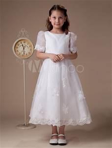 white round neck short sleeves satin first communion dress With robe de communion orchestra