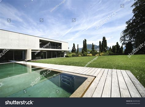 New Architecture, Beautiful Modern House Outdoors Stock