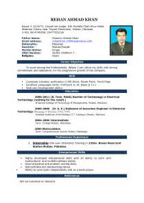 Simple Format Of Cv by Simple Resume Format In Word Bravebtr