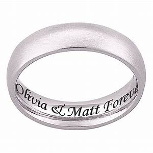 Personalized stainless steel engraved wedding band for Engravings on wedding rings
