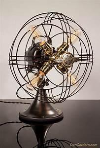 vintage fan table lamp desk lamp edison light With edison fan floor lamp