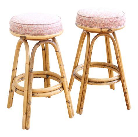 vintage boho chic rattan bamboo swivel bar stools set