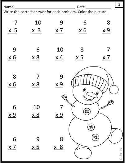 multiplication worksheets winter snowman theme