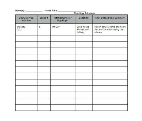 film shooting schedule template   word excel