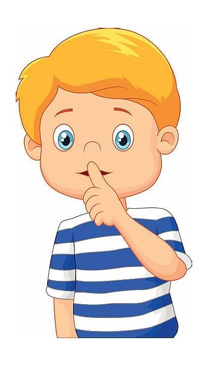 Quiet Clipart Mouth Finger Cartoon Boy Lips