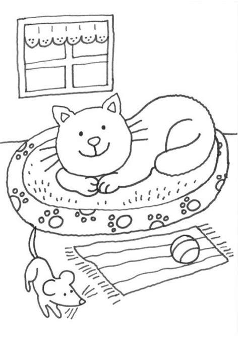 kostenlose malvorlage katzen katze im koerbchen ausmalen