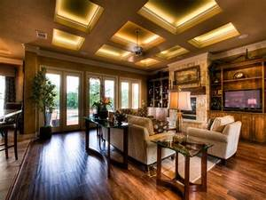 Coffered ceiling with LED strip lighting behind molding ...