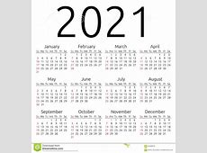 Vector Calendar 2021, Sunday Stock Vector Illustration