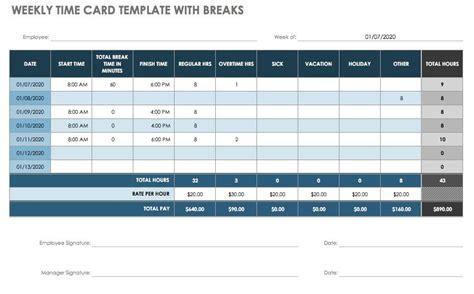 timesheet  time card templates smartsheet