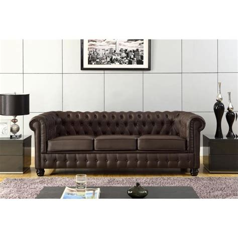 canapé chesterfield cuir chesterfield canapé en cuir et simili 3 places 213x88x75