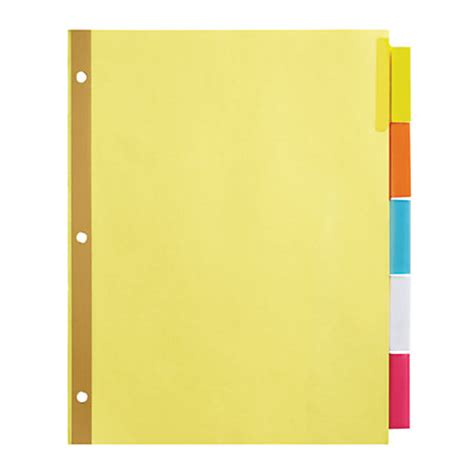 divider tabs template office depot brand insertable dividers with big tabs buff assorted colors 5 tab by office depot