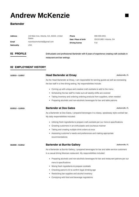 Sle Resume For Bartender by Free Bartender Resume Sle Template Exle Cv