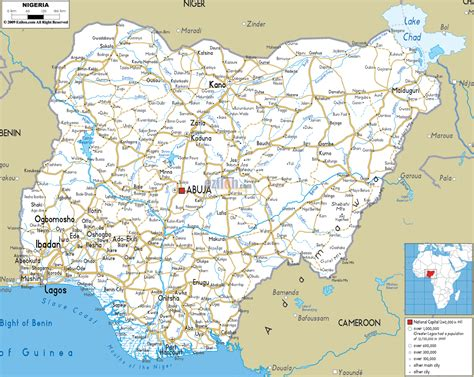 detailed clear large road map  nigeria ezilon maps