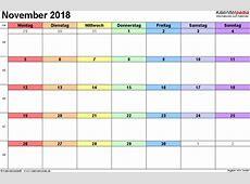Kalender November 2018 als ExcelVorlagen
