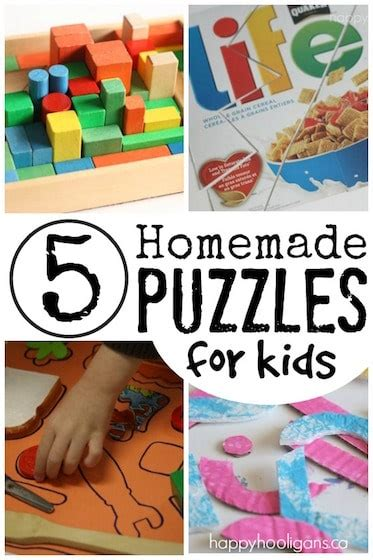 and toys for preschoolers and toddlers 559 | 5 homemade puzzles for kids Happy Hooligans