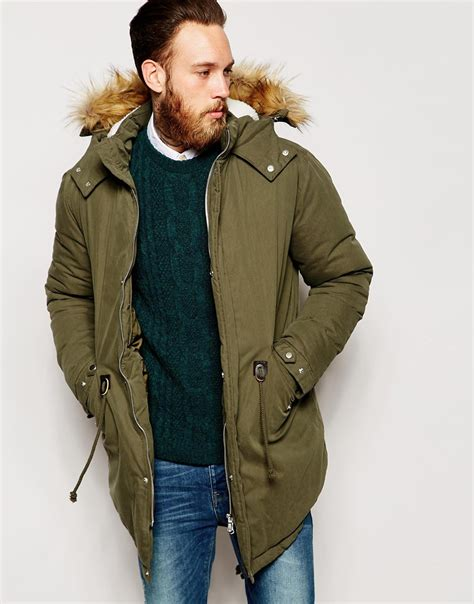 asos blazer in cotton asos parka with faux shearling in khaki in