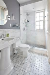 Gray Bathroom Ideas Marbled Tile Glass Door Showe Gray Bathroom I Like The Top Half Bottom Half Different Colors