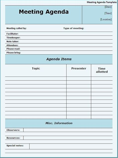meeting agendas templates meeting agenda template