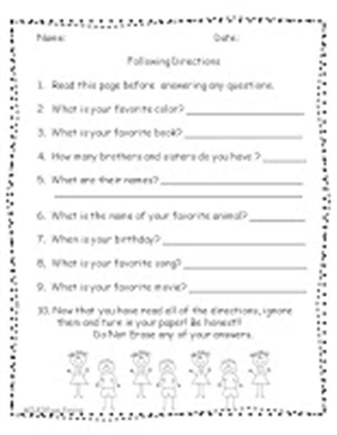 19 best images of importance of following worksheet