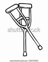 Crutches Sketch Cartoon Coloring Vector Template sketch template