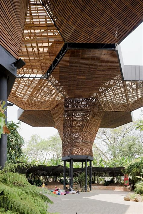 built  hexagonal wood canopy panels  geometries bebon