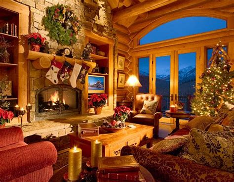 log home christmasso cozy cabin fever log home