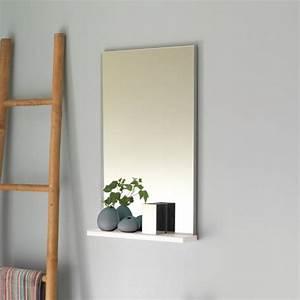 miroir salle de bain avec tablette pop sanijura laque blanc With miroir salle de bain avec tablette castorama