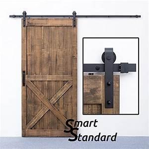 smartstandard 8 ft sliding barn door hardware black j With barn door hardware prices