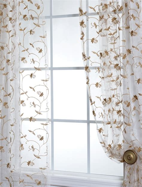 fiona floral embroidered organza sheer curtains panels