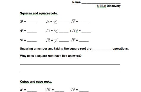 8 ee 2 square and cube root solutions strickler wms 8th grade math