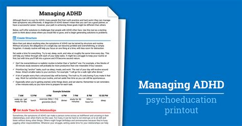 managing adhd worksheet therapist aid