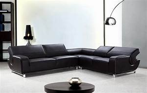l shaped black leather sectional sofa with adjustable With modern sectional sofa india