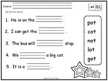 ot word family printable worksheets by the primary place tpt