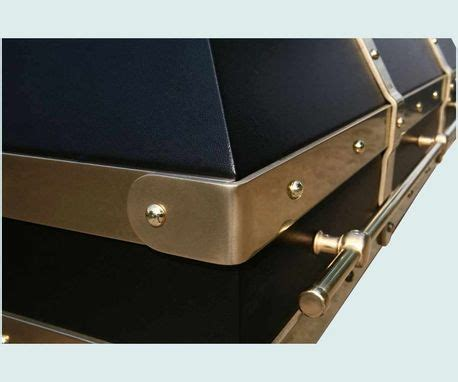 Hand Crafted Black Range Hood With Brass Straps & Pot Rail